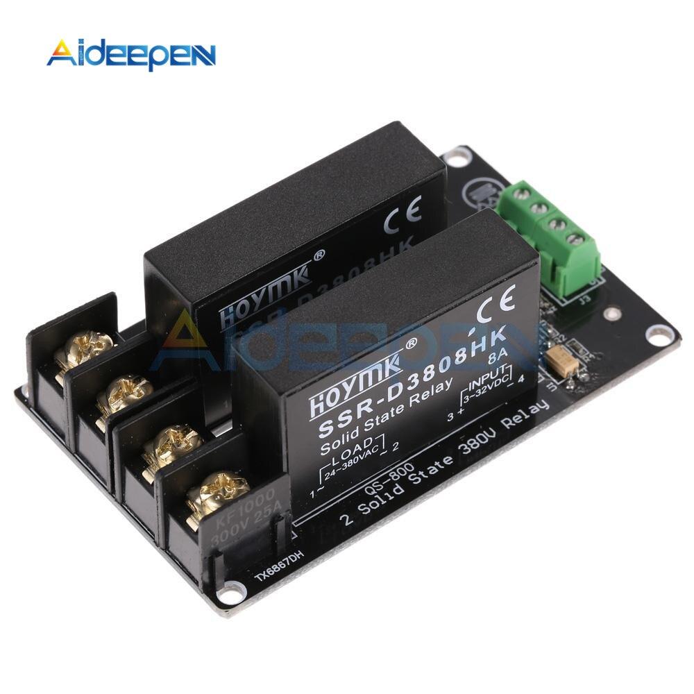 380V 8A 2 канала твердотельные реле Модуль высокого и низкого уровня триггера доска SSR-D3808HK переключатель контроллер для Arduino