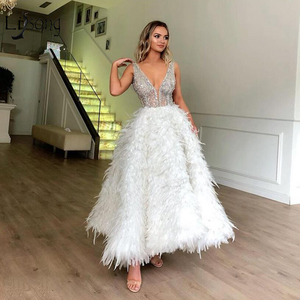 Image 2 - ハイエンド白羽イブニングドレスとクリスタルビーズ足首の長さのフォーマルパーティードレスウエディングドレス