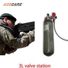 AC103101 3L CE خزان هواء صغير 4500Psi اسطوانة غاز Pcp بندقية الهواء الكربون خزان الهواء صمام كوندور ومحطة وقود