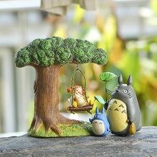 Desenhos animados swing girl bonito totoro fadas jardim miniaturas diy ornamento decoração artesanato estatuetas micro paisagem decoração de casa