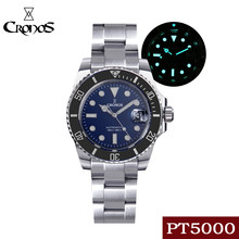 CRONOS Diving Men's Watch 200M Water Resistant Super Luminous Stainless Steel Sapphire PT5000 Bracelet Ceramic Rotating Bezel