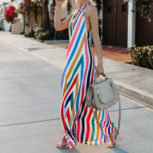 Summer New Sexy Women Boho Striped Plus Size Dresses Casual Halter Chiffon Dress Beach Elegant loose Long