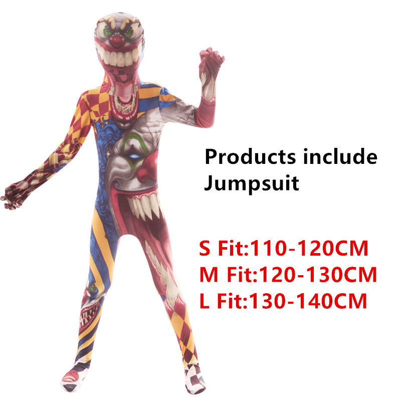 Хэллоуин страшные костюмы для детей демон, дьявол вариант клоун 3D принт Костюм Скелета в китайском стиле Карнавальная одежда для вечеринки - Цвет: Style3
