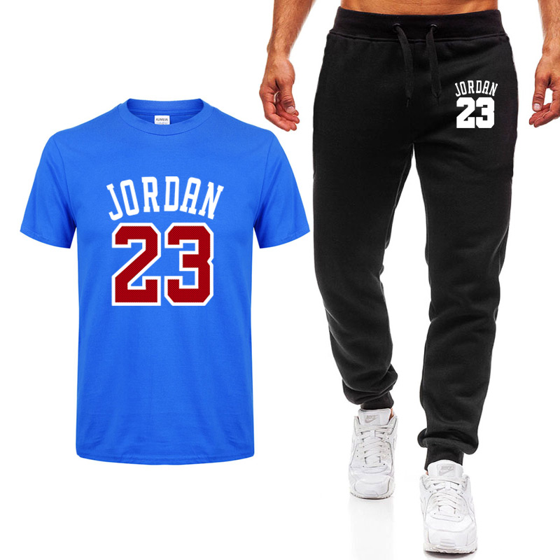2020 Men's Sets T Shirts+pants Two Pieces Sets Casual Tracksuit Men/Women Jordan 23 Suit Print Tops+Pants Gyms Fitness Trousers
