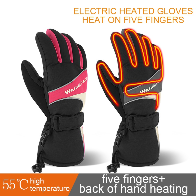 1 Pair Winter Hand Warmer Electric Thermal Powered For Outdoor Motorcycle Skiing Heated Gloves Gloves Waterproof Battery