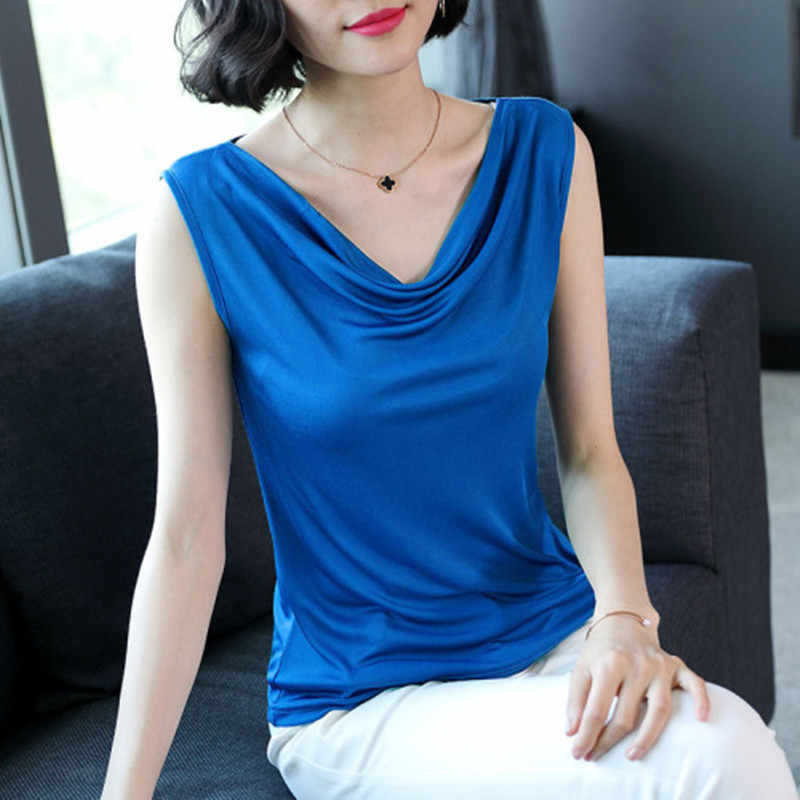 Silk Blouse Women Elegant Woman Stain Blouses Summer Woman Solid Blouse Plus Size Tops Office Lady Silk Shirt Women Blouses Tops