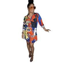 Shirt Style Casual Women Dress Long Sleeve Turn Down Collar Single-Breasted Spring-Fall Female Mini Dress