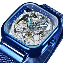 الفائز الرسمي الأزرق رجالي الساعات العلامة التجارية الفاخرة التلقائي ساعة ميكانيكية الرجال منحوتة المغناطيس شبكة حزام الهيكل العظمي ساعة اليد