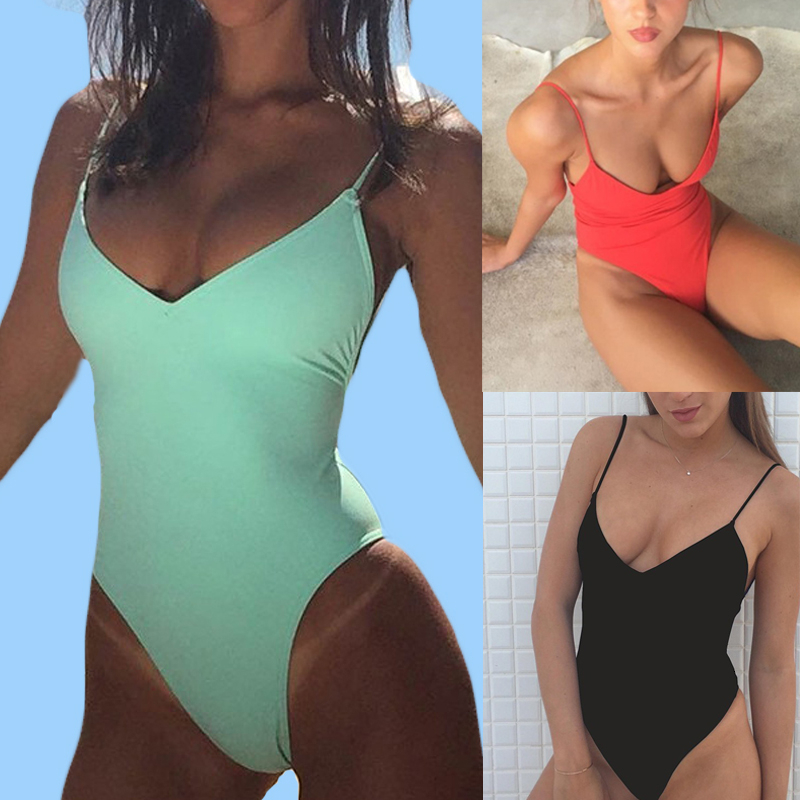 Women Solid <font><b>Bikinis</b></font> <font><b>Sexy</b></font> <font><b>Bandage</b></font> One Piece Backless Swimsuit Female Bathing Suits Bodysuit Beach Wear New Swim Suit Monokini image