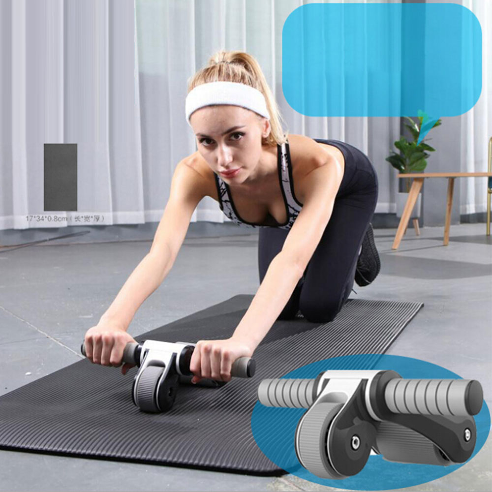 Fitness Abdominal Wheel AB Roller With Mat Abdominal Muscle Trainer Indoor Workout Exercise Equipment for Men Women image