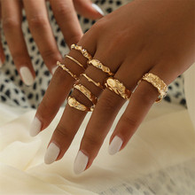 LETAPI 9pc/set Bohemia Women Rings Fashion Gold Color Metal Party Jewelry Engagement Ring Set For