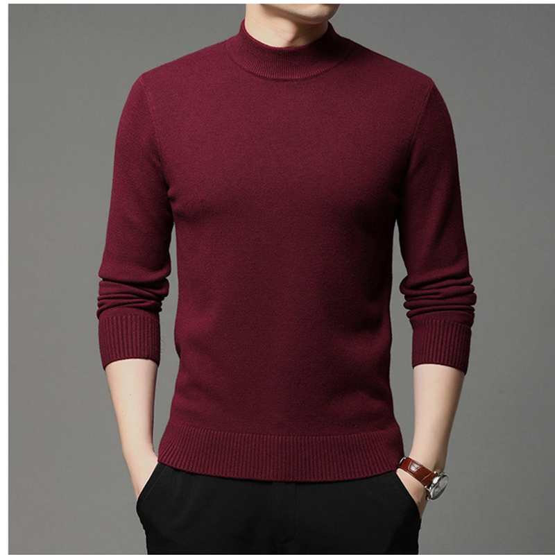 2021 Autumn and Winter New Men Turtleneck Pullover Sweater Fashion Solid Color Thick and Warm Bottoming Shirt Male Brand Clothes