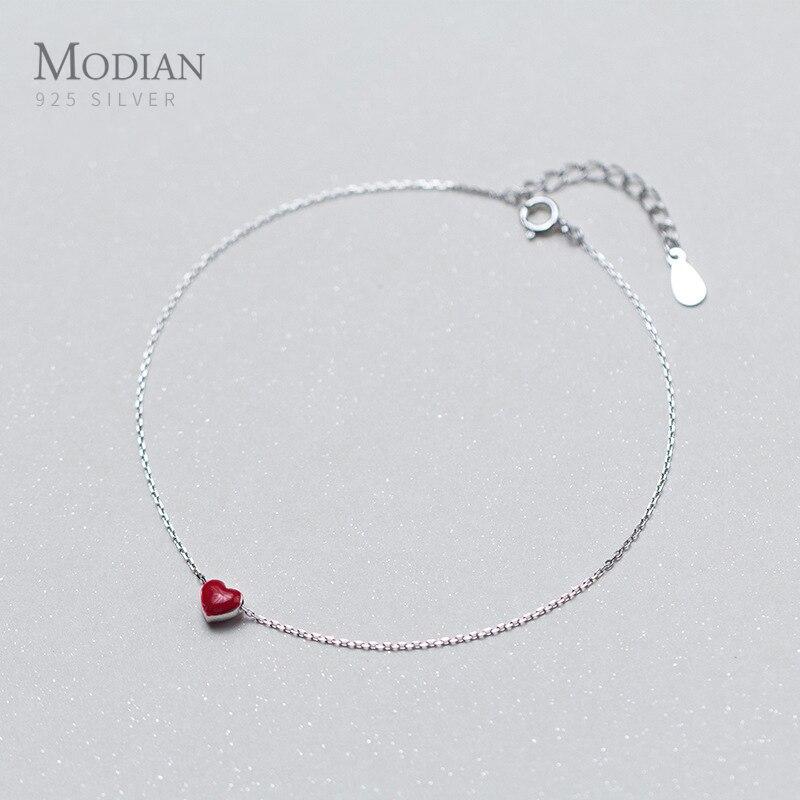Modian Fashion Love Red Heart Silver Anklets for Women Simple Enamel Chain Bracelets for Leg Foot Jewelry Femme Accessories