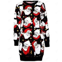 Dress Paty Women Dress Autumn Christmas Printed Long Sleeve Short Mini Female Fahion Clothing 2019 Casual Ladies Vestido Vintage 5
