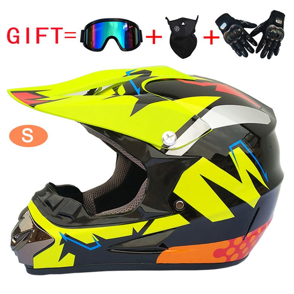 Off-Road Helmet Outdoor Full Face MX Racing Helmet Adult Youth Motocross Combo Helmet Free Windproof Glasses Mask Gloves DOT Approved,Blue,S