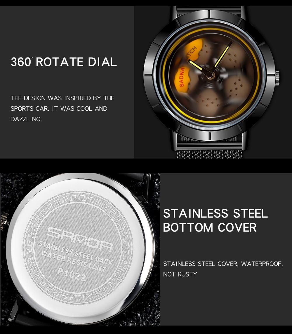 H175d06b8c4d04b0f8ed8f14fc201a822S Men's Watch 360 Degree Wheel Rotation Creative Quartz