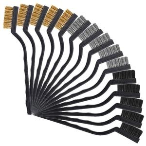 15 штук покрытия для проволочной щетки, кисть для кирпича, матовая изогнутая ручка для очистки сварочного шлака и ржавчины, 5 шт. на материал