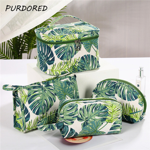 PURDORED 1 Pc Green Leaf Cosmetic Bag Ladies Makeup Storage Bag Creative Printing Large Capacity Travel  Women Makeup Bag