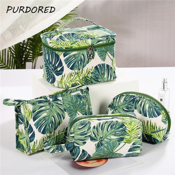 PURDORED 1 Pc Green Leaf Cosmetic Bag Ladies Makeup Storage Bag Creative Printing Large Capacity Travel  Women Makeup Bag
