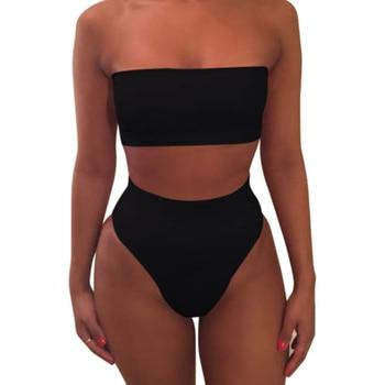 1 Set Women Swimsuit Swimwear Bikini Solid Color Fashion Breathable for Beach Holiday FOU99