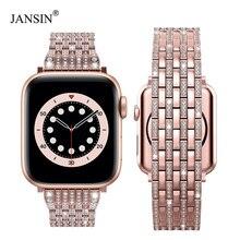 Correa de diamante de lujo para Apple watch, banda de 40mm y 38mm para iwatch de 42mm y 44mm, pulsera de acero inoxidable para Apple watch Series 6 SE 5