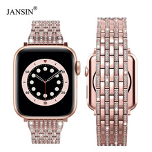 Luxury Diamond strap for Apple watch band 40mm 38mm iwatch band 42mm 44mm stainless steel bracelet For Apple watch Series 6 SE 5