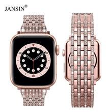 Luxus Diamant strap für Apple uhr band 40mm 38mm iwatch band 42mm 44mm edelstahl armband für Apple uhr Serie 6 SE 5