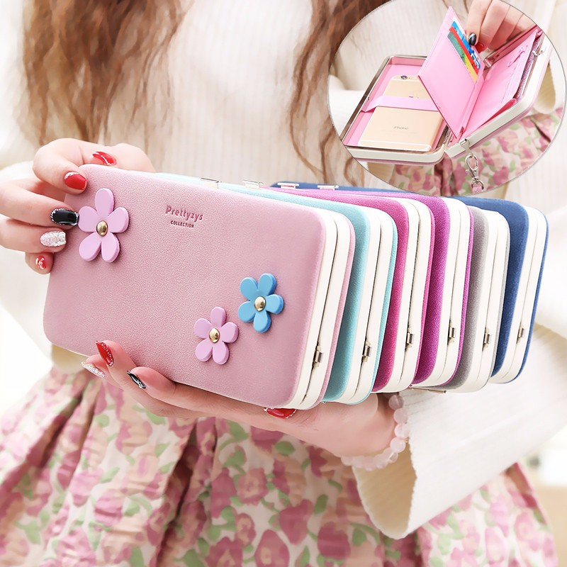 3 Flowers Lady Wallet Long Wallet Multi Card Slot Card Holder Large Capacity Pocket With Portable Wrist Strap