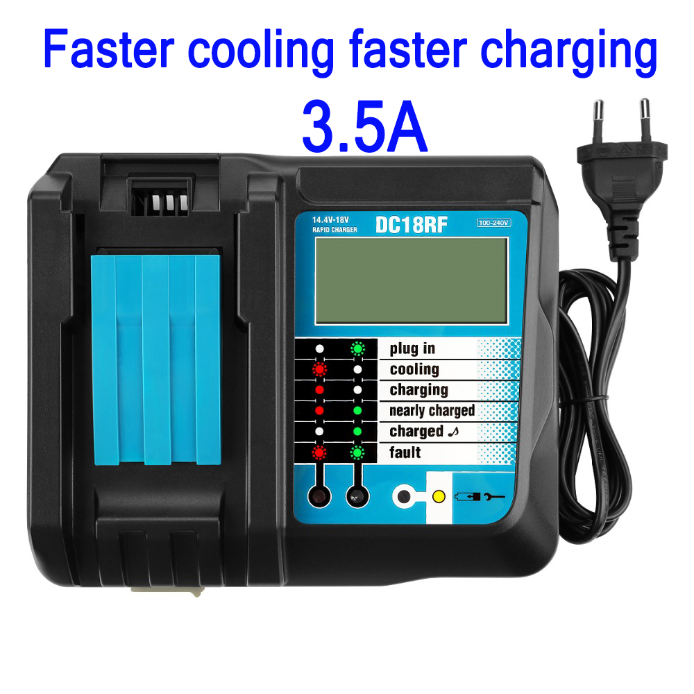 DC18RF Rapid Charger Replacement Power Tools Lithium-ion Charger 14 4V-18V for Makita Power Tool Battery DC18RA DC18RC With USB