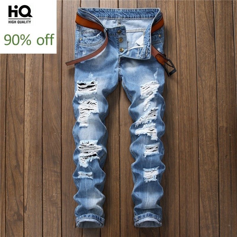 2020 Spring New Fashion Men's Jeans Hole Ripped Straight Slim Fit Streetwear Pants For Man Casual Cowboy Trousers For Male