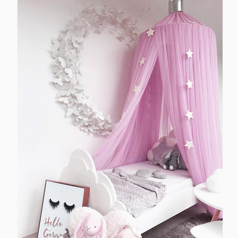 Baby Mosquito Net Bed Canopy Crib Cot Kids Play Tents Girl Princess Canopy  Bed Curtain Valance Hung Dome Nursery Room Decoration