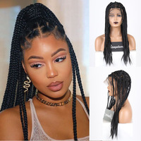 RONGDUOYI Black Fiber Wig Synthetic Full Lace Wigs for Women Long Braided Box Braids Hair Natural Hairline Wig with Baby Hair