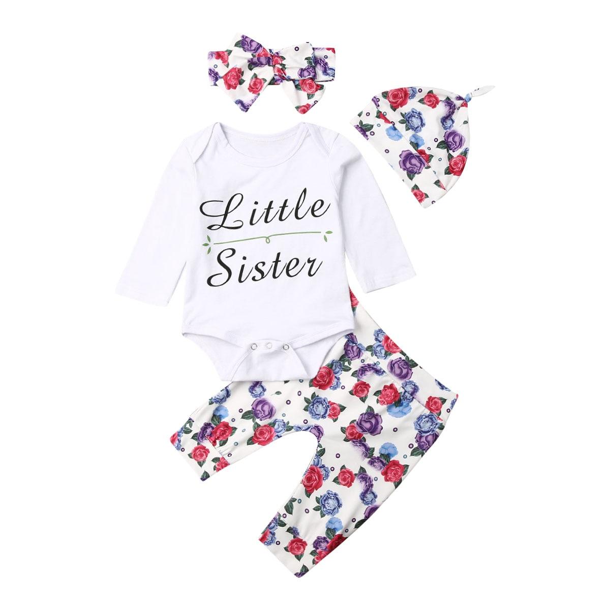 US 4pcs Infant Baby Girl Floral Romper Bodysuit Jumpsuit+Headband Clothes Outfit
