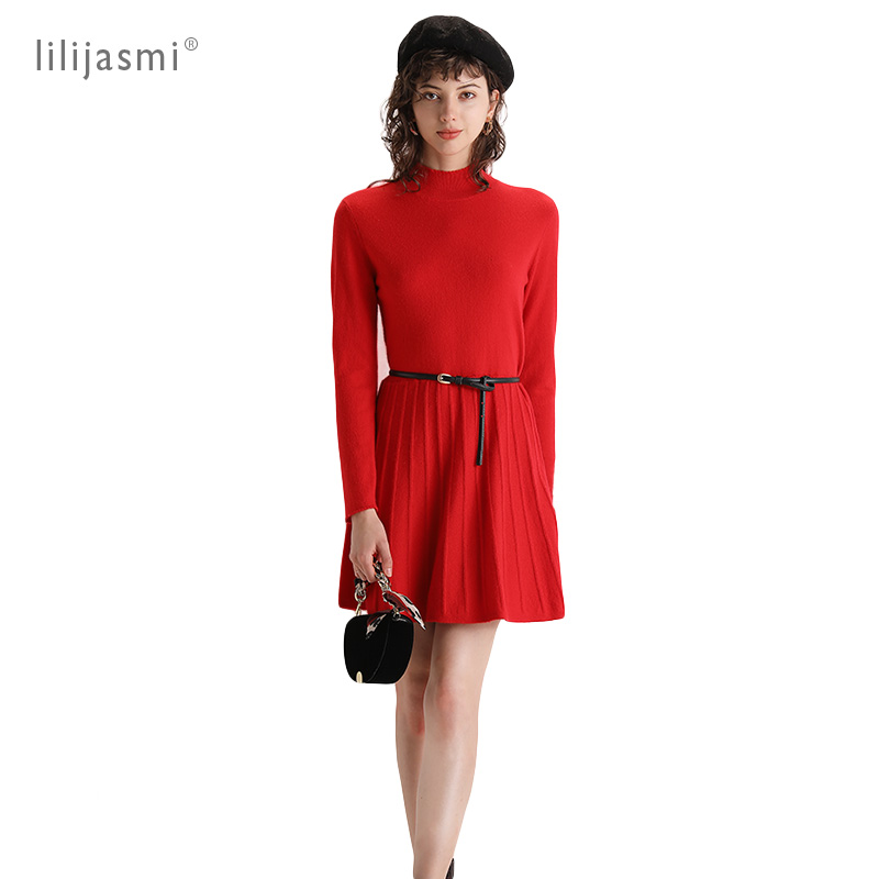 100% Cashmere Round Neck Knitted Dress Umbrella Cute Mini 2019 Winter Dress Soft Cozy Cashmere Women Long Sweaters Fit And Flare