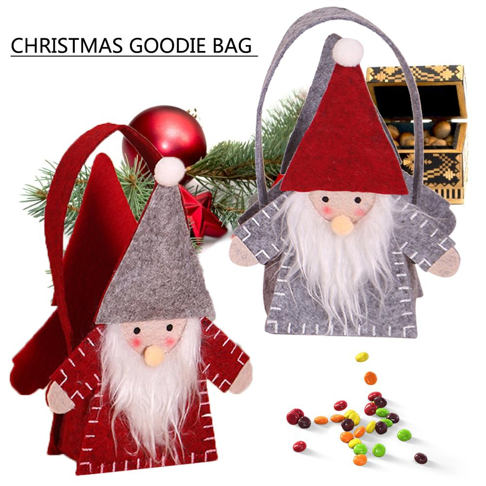 Cute Christmas Gift Bags Candy Bag Handbags Forest People Felt Cloth Bag Christmas Tree Hangings Kid's Xmas Gift Candy Bags