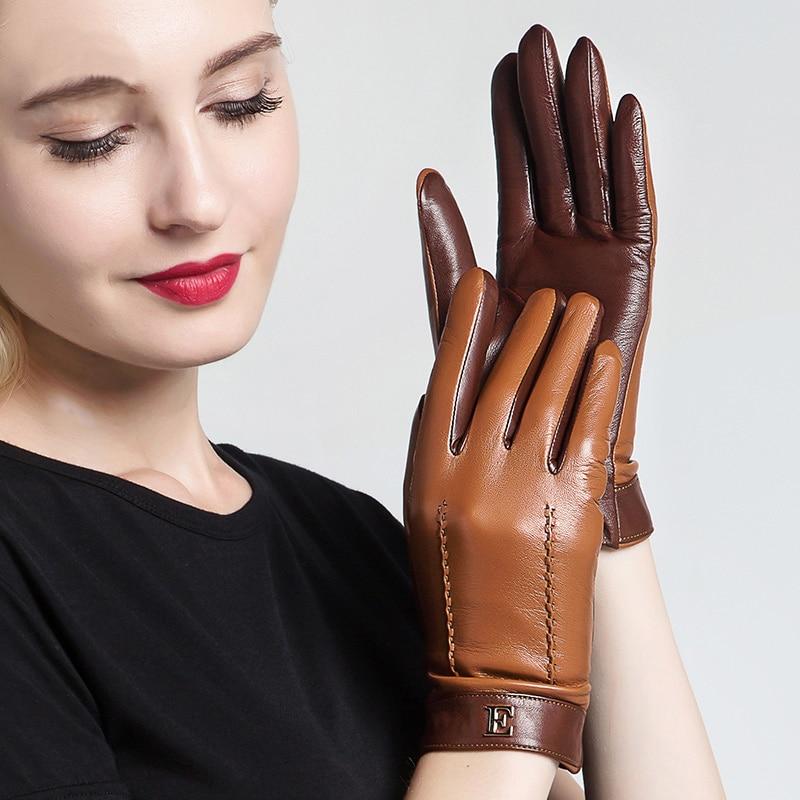 Genuine Leather Women Gloves Female Elegant Two Tones Sheepskin Gloves Autumn Winter Warm Plush Lined 3326