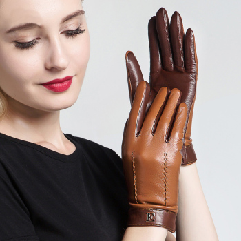 Genuine Leather Women Gloves Female Elegant Two Tones Sheepskin Autumn Winter Warm Plush Lined 3326