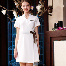 Summer work dress of beauty salon nurse manicurist work dress short sleeves недорого