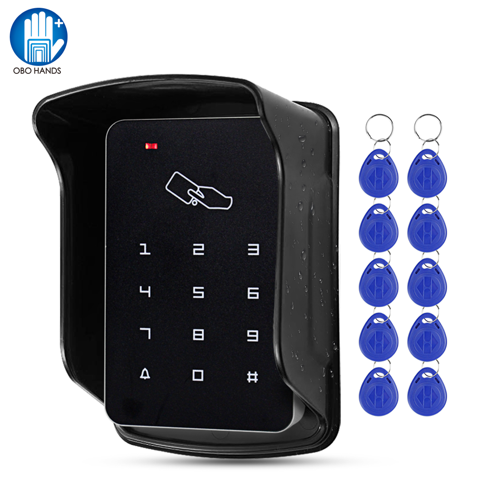 OBO Access Control Keypad RFID Keyboard Waterproof Outdoor Cover 125KHz Standalone Access Controller System Reader 10pcs Keyfobs