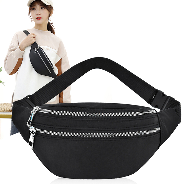 Women Ladies Female Waist Pack Zipper Adjustable Belt Solid Mini Shoulder Bag Crossbody Bag Sports Travel Cycling Casual  Bag 1