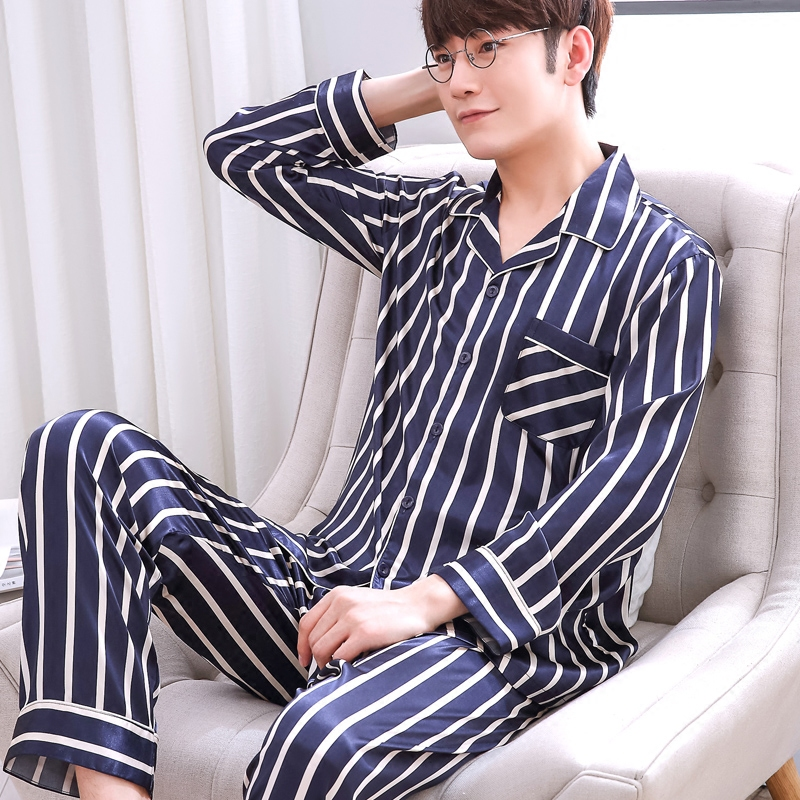Men's Pajamas Spring Autumn Long Sleeves Ice Silk Home Suit Male Youth Top And Trousers 2 Pcs Set Sleepwear Soft Nightgown H5605