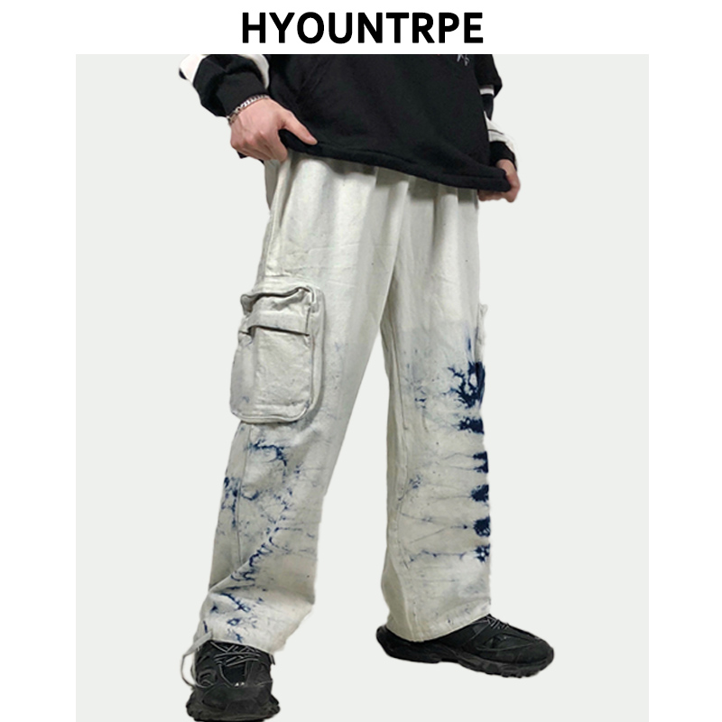 Mens Tie Dyed Jogger Wide Legs Pants Casual Side Pockets Loose Fit Pants Elastic Waist Men Streetwear Hip Hop Loose Jeans Pants