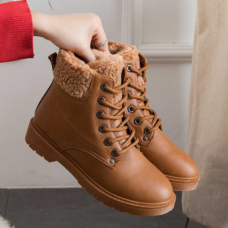 2019 kadın kış botları dantel-up kadın yarım çizmeler kaymaz martin çizmeler sıcak peluş kadın kar botları kış ayakkabı zapato de mujer