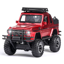 1:32 Toy Car Red Simulation G500 SUV Diecast Metal Model Wheels Boy Toys Vehicle Sound Light Pull Back Collection Kids Gift