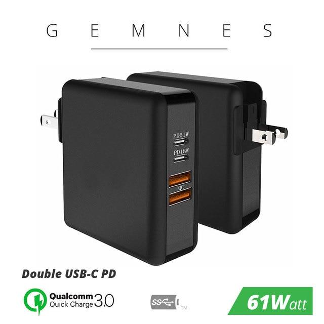 61ワットusb cタイプc pd qc 3.0 4ポート高速充電器の電源アダプタmacbook proの空気のhpレノボasus xiaomi huawei社ラップトップタブレット
