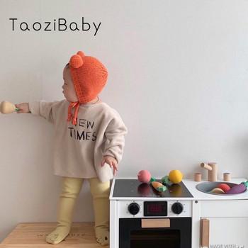 T-shirt dziecięcy prosty nadruk Newtimes Plus aksamitny luźny sweter modele jesienne i zimowe chłopięce i dziewczęce koszulki z literami (bez kapelusza) tanie i dobre opinie TaoziBaby COTTON POLIESTER CN (pochodzenie) Wiosna i jesień W wieku 0-6m 7-12m 13-24m 25-36m 4-6y Damsko-męskie moda REGULAR