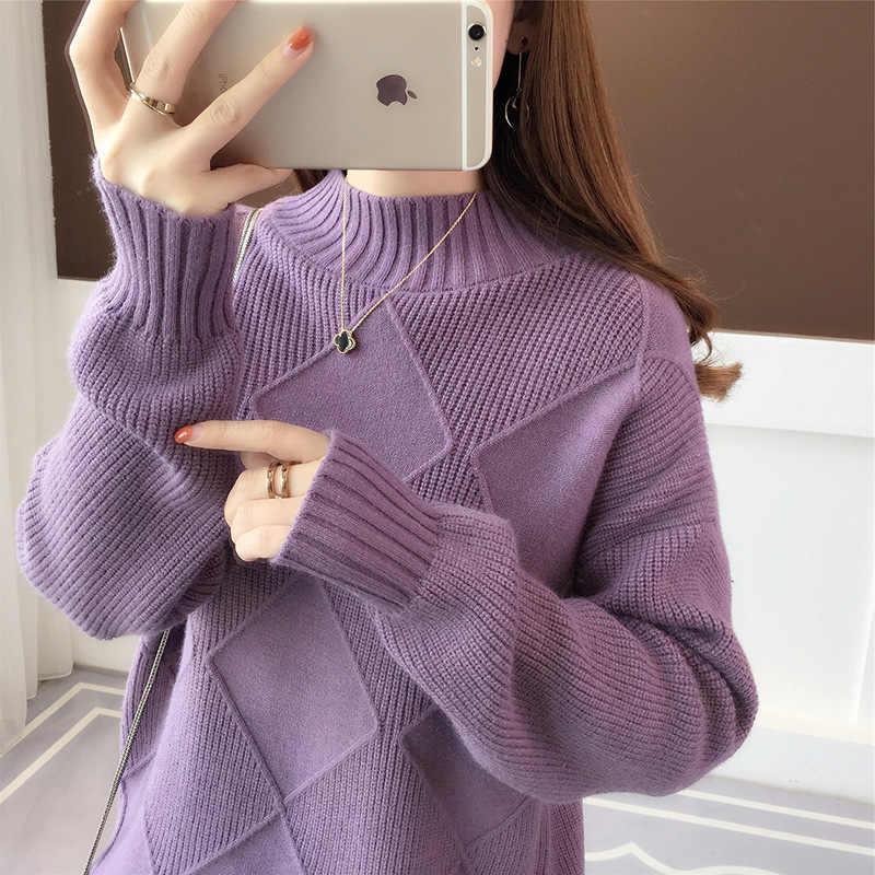 새로운 스웨터 여성 하프 하이 칼라 솔리드 컬러 니트 스웨터 가을 따뜻한 봄 새로운 느슨한 긴 소매 스웨터 vestidos lxj736