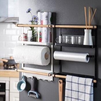 Magnetic Adsorption Refrigerator Side Rack Wall-mounted Multi-function Storage Holder Kitchen Paper Towel Shelf Rack Organizer