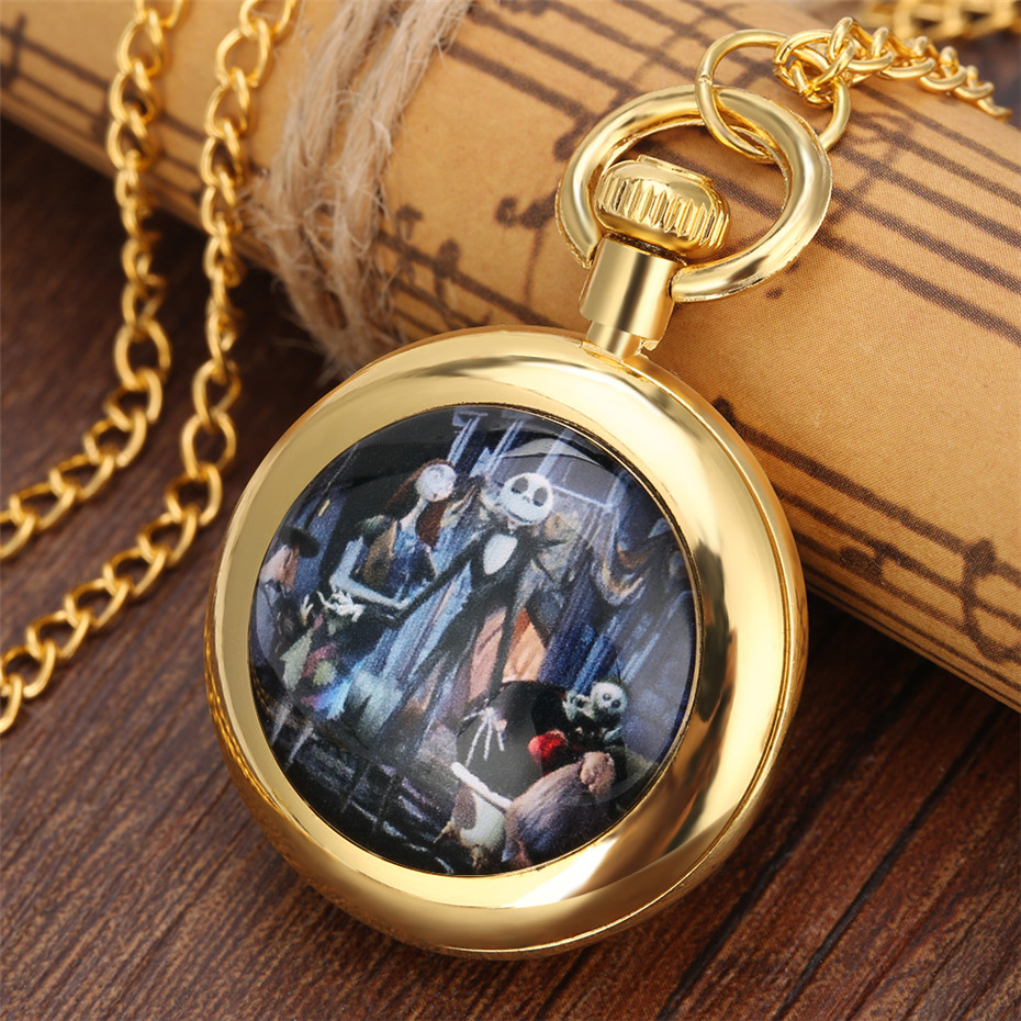 New 2019 The Nightmare Before Christmas Theme Quartz Pocket Watch Roman Numerals Open Face Dial Exquisite Pendant Clock Gift Kid