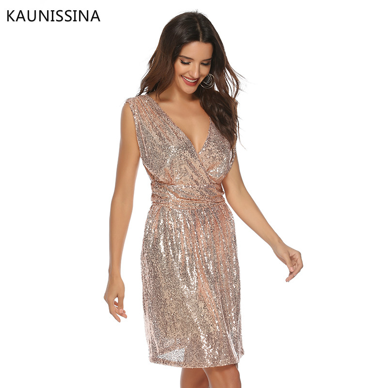 Image 2 - KAUNISSINA Women Sexy Sequins Cocktail Dress Solid V Neck Sleeveless High Waist Dress Homecoming Dresses Party Gown Real PhotoCocktail Dresses   -